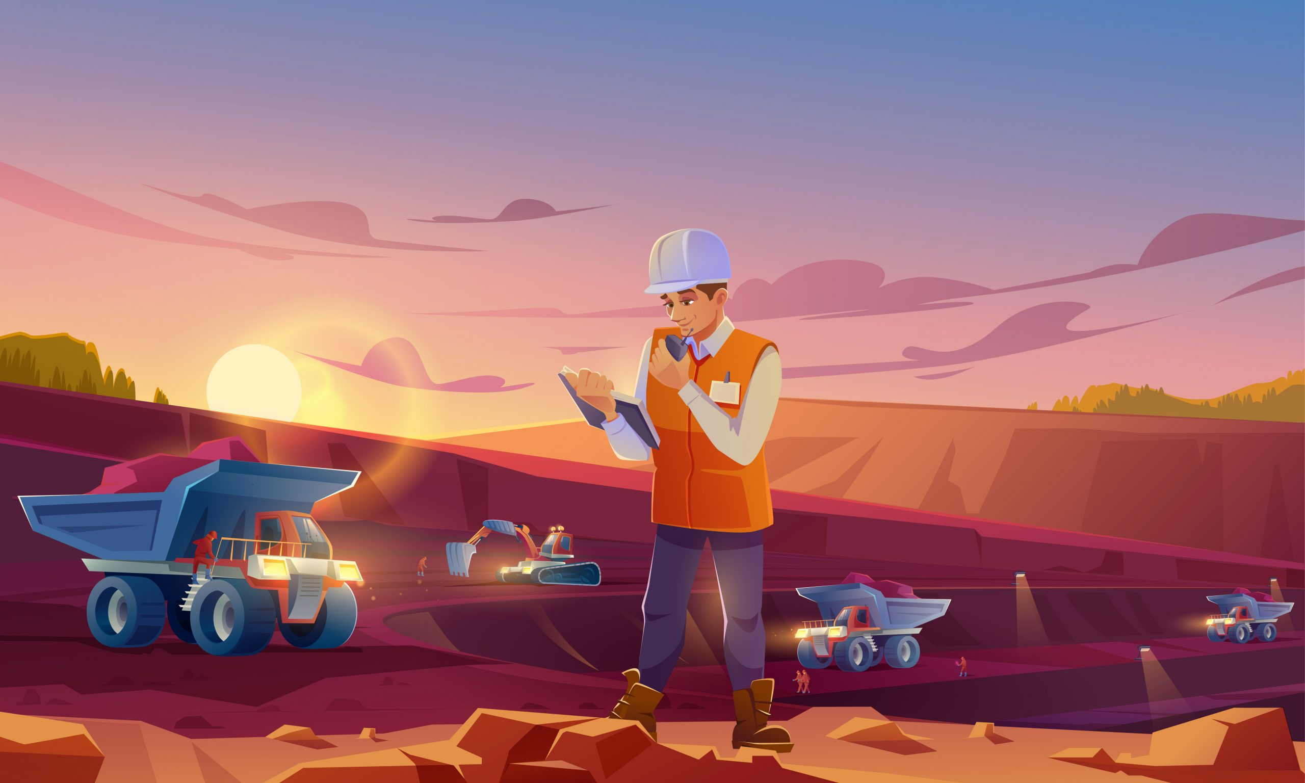 Man in helmet working on mining quarry
